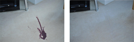 Red Wine Stain Removed from Carpet